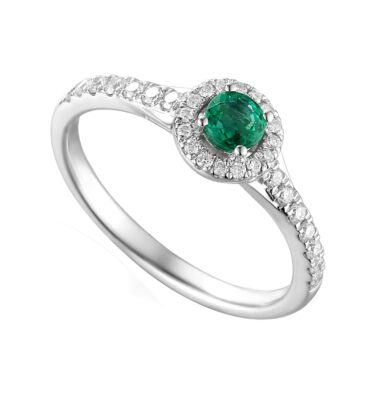 Designer platinum emerald and diamond halo claw-set engagement ring