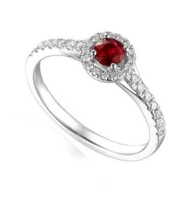 Designer platinum ruby and diamond halo claw-set engagement ring