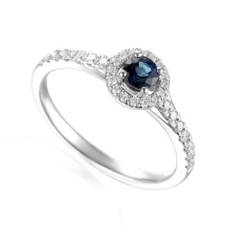Designer platinum sapphire and diamond halo claw-set engagement ring