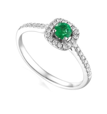 Designer 18ct white gold brilliant-cut emerald and diamond halo engagement ring