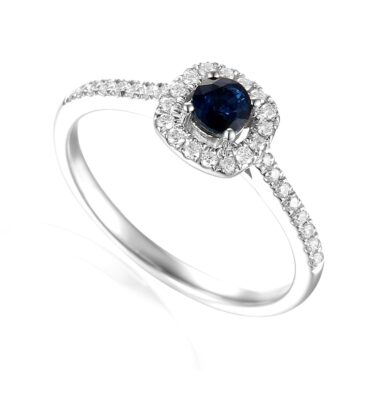 Designer platinum brilliant-cut sapphire and diamond halo engagement ring