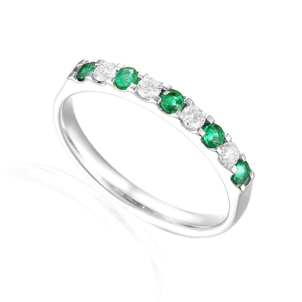 Designer brilliant-cut Emerald and Diamond Engagement Ring in 18ct white gold