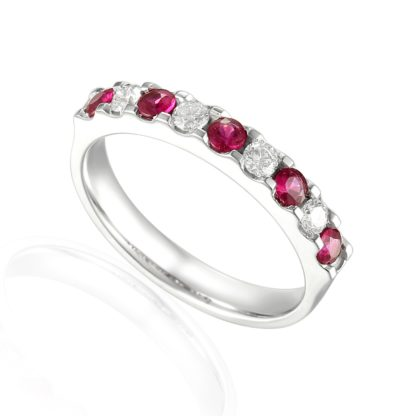 Designer brilliant-cut Ruby and Diamond Engagement Ring in 18ct white gold
