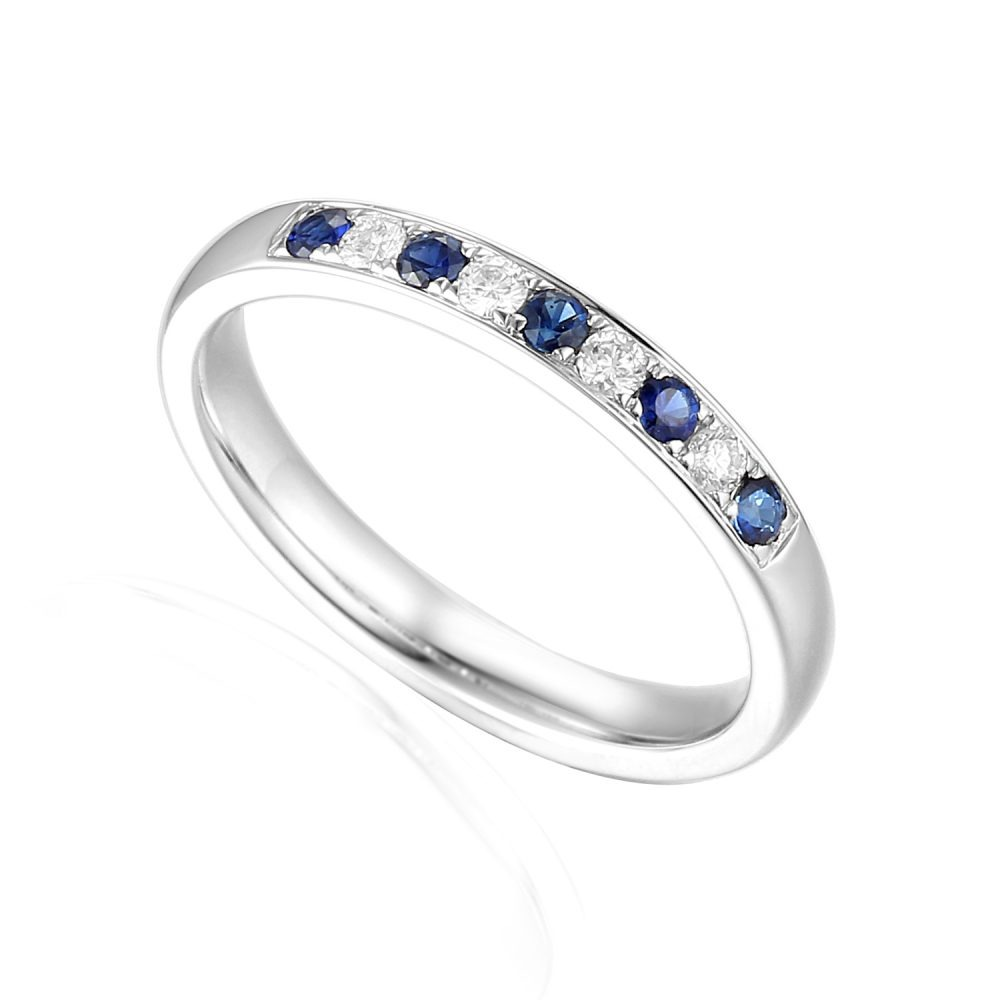 Designer brilliant-cut Sapphire and Diamond Engagement Ring in 18ct white gold