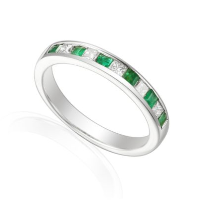 Designer Princess-cut Emerald and Diamond Engagement Ring in 18ct white gold
