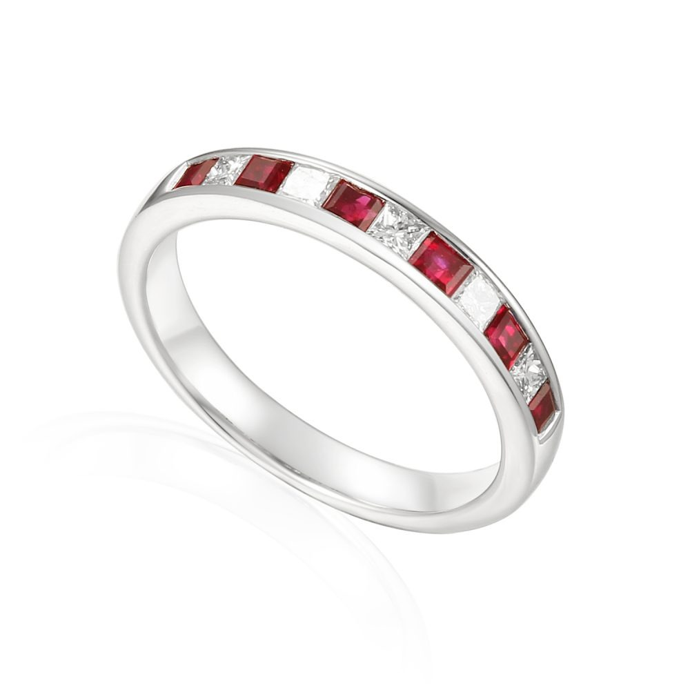 Designer Princess-cut Ruby and Diamond Engagement Ring in platinum