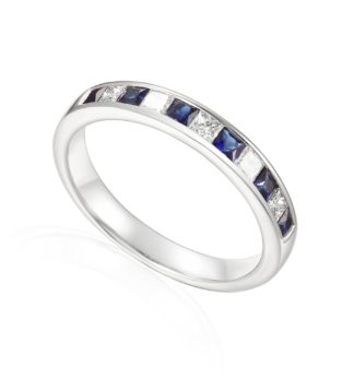 Designer Princess-cut Sapphire and Diamond Engagement Ring in 18ct white gold
