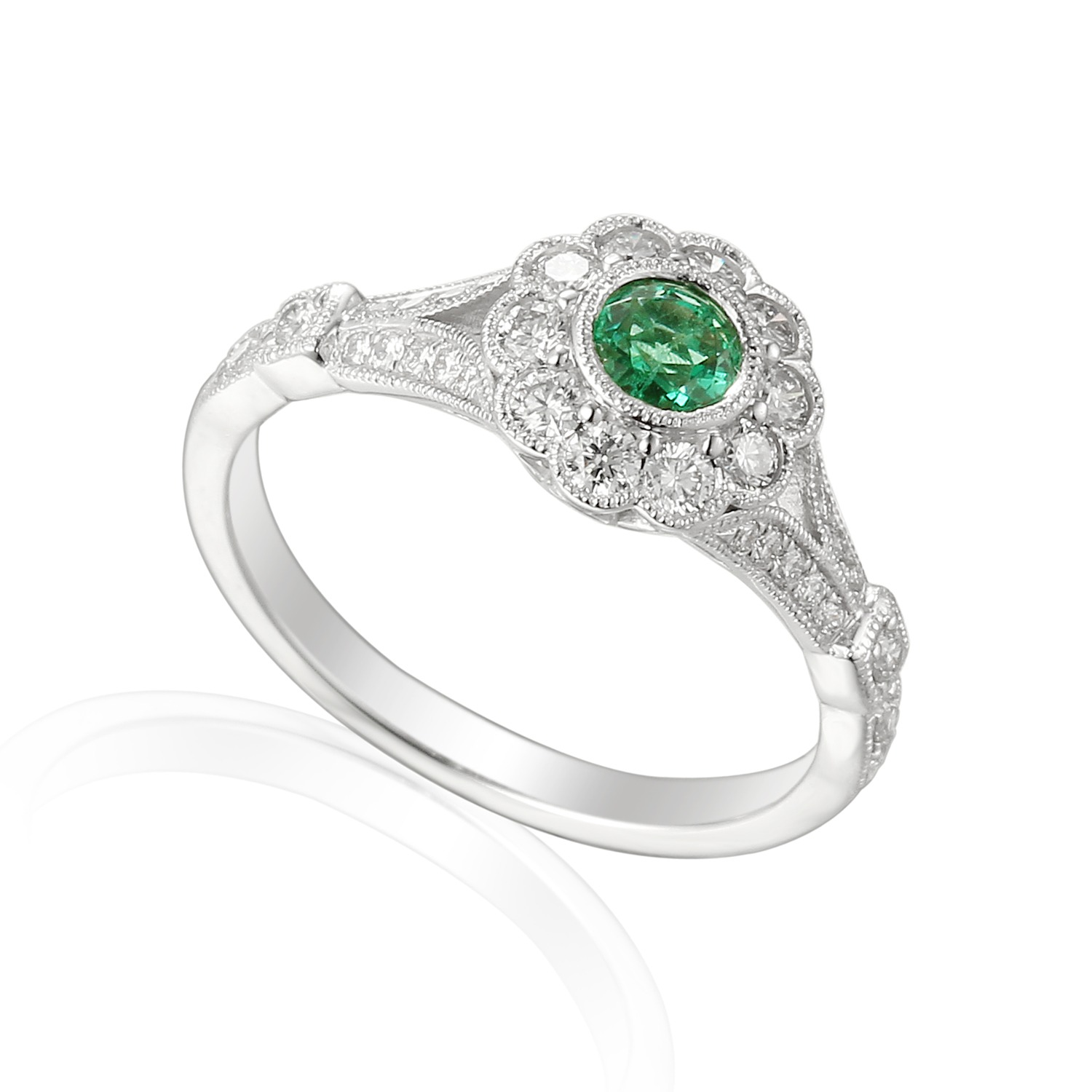 18ct white gold emerald diamond engagement ring