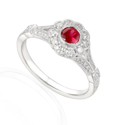 Designer platinum ruby and diamond engagement ring.