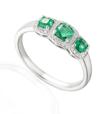 Designer Emerald and diamond trilogy engagement ring in 18ct white gold