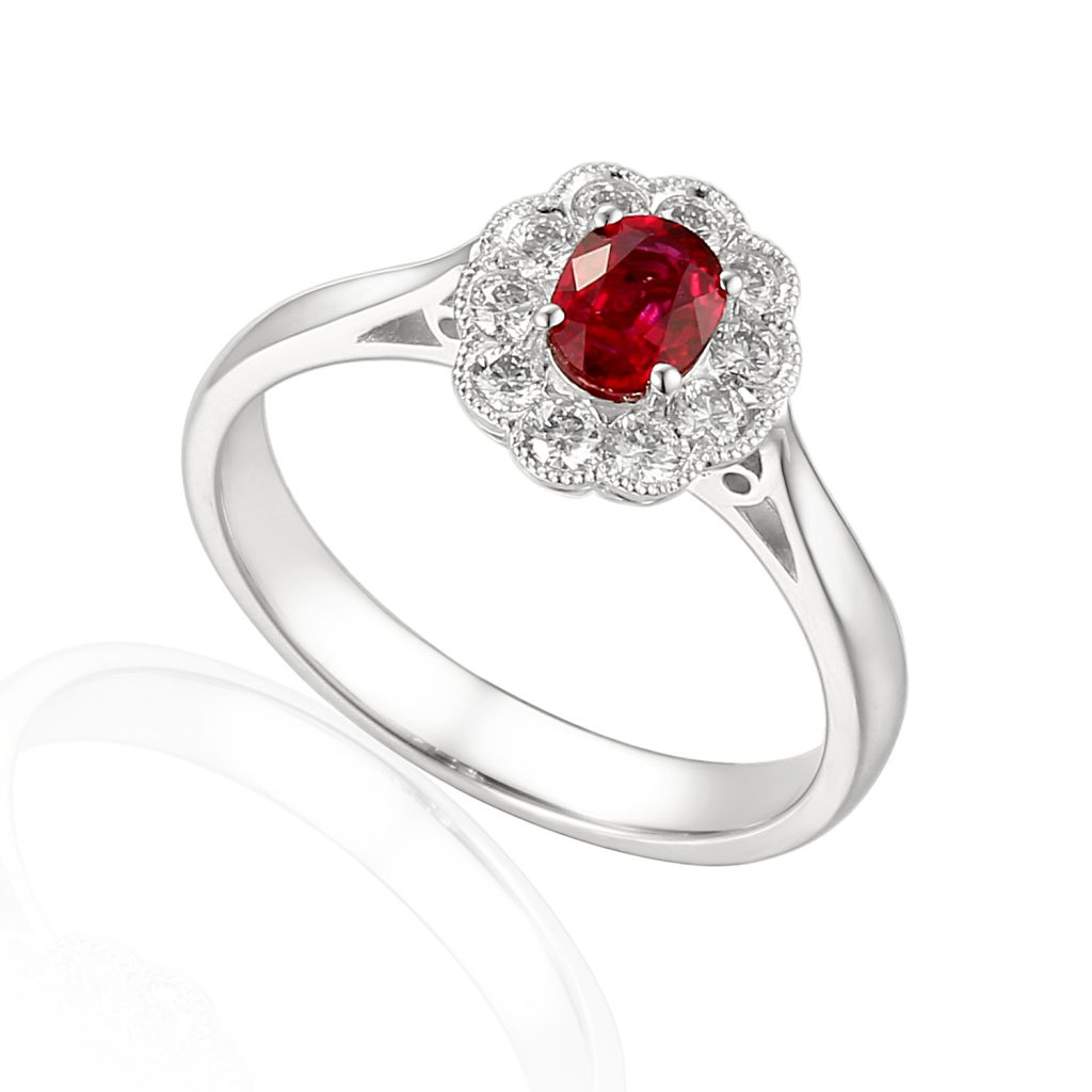 Rionore Designer oval ruby and diamond halo engagement ring in 18ct white gold
