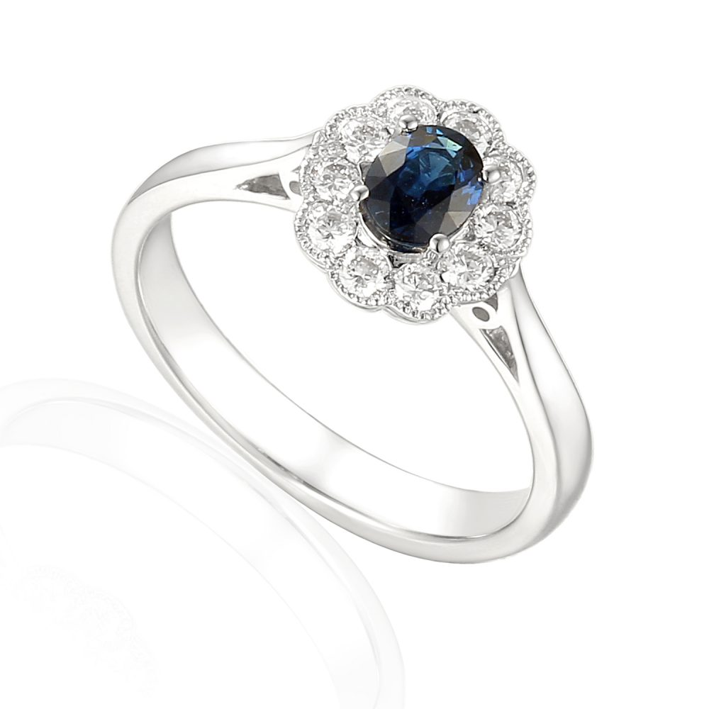 sapphire halo diamond engagement ring