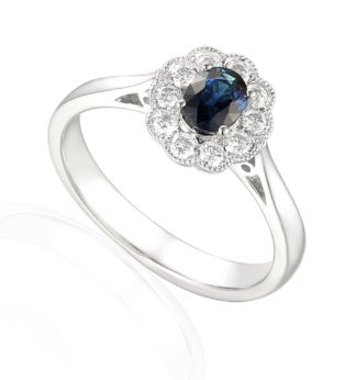 Rionore Designer oval sapphire and diamond halo engagement ring in 18ct white gold