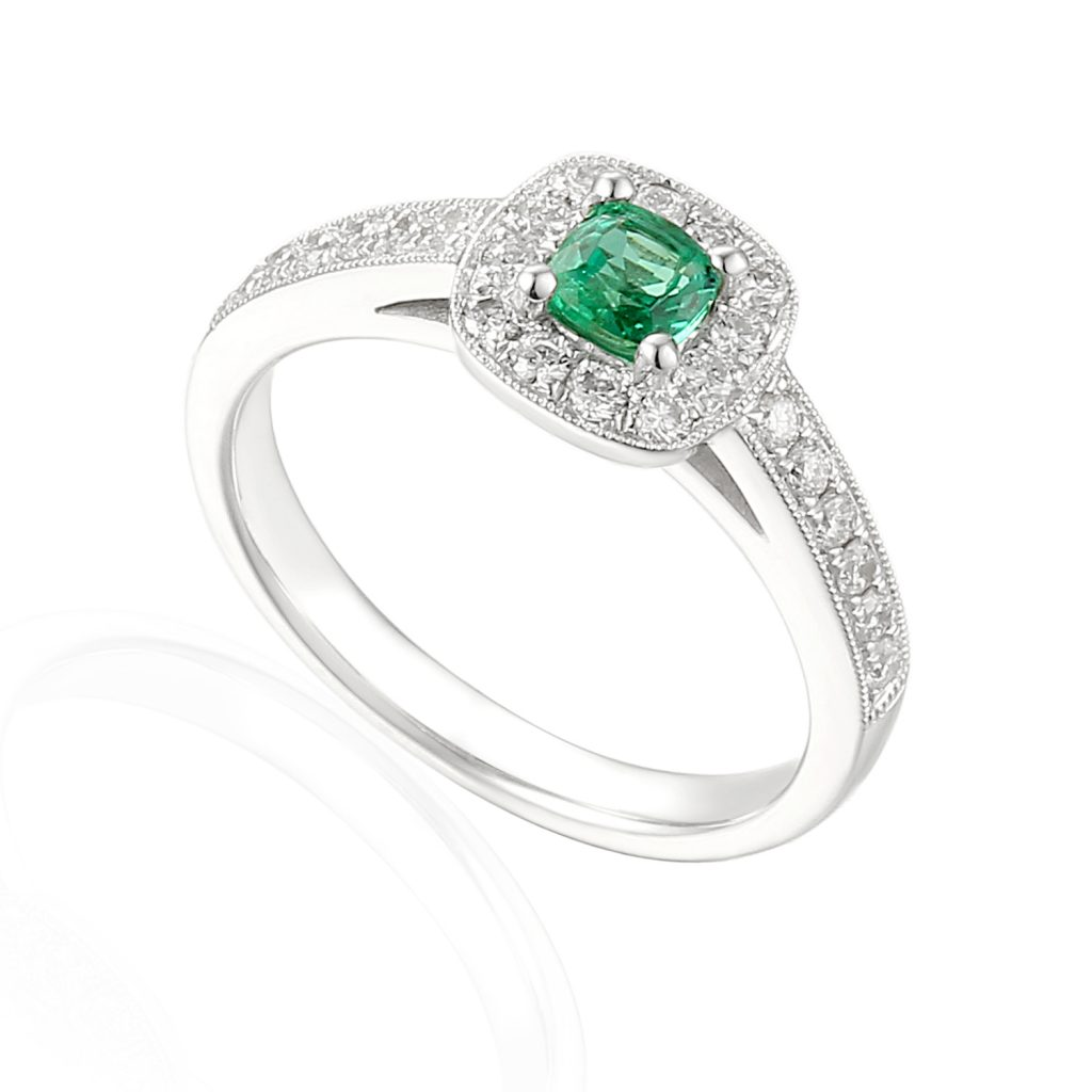 Designer 18ct white gold cushion cut emerald and diamond halo engagement ring