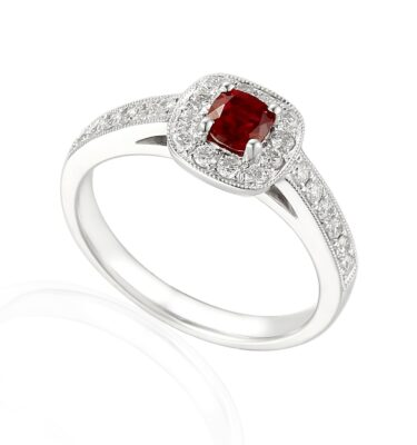 Designer 18ct white gold cushion cut ruby and diamond halo engagement ring