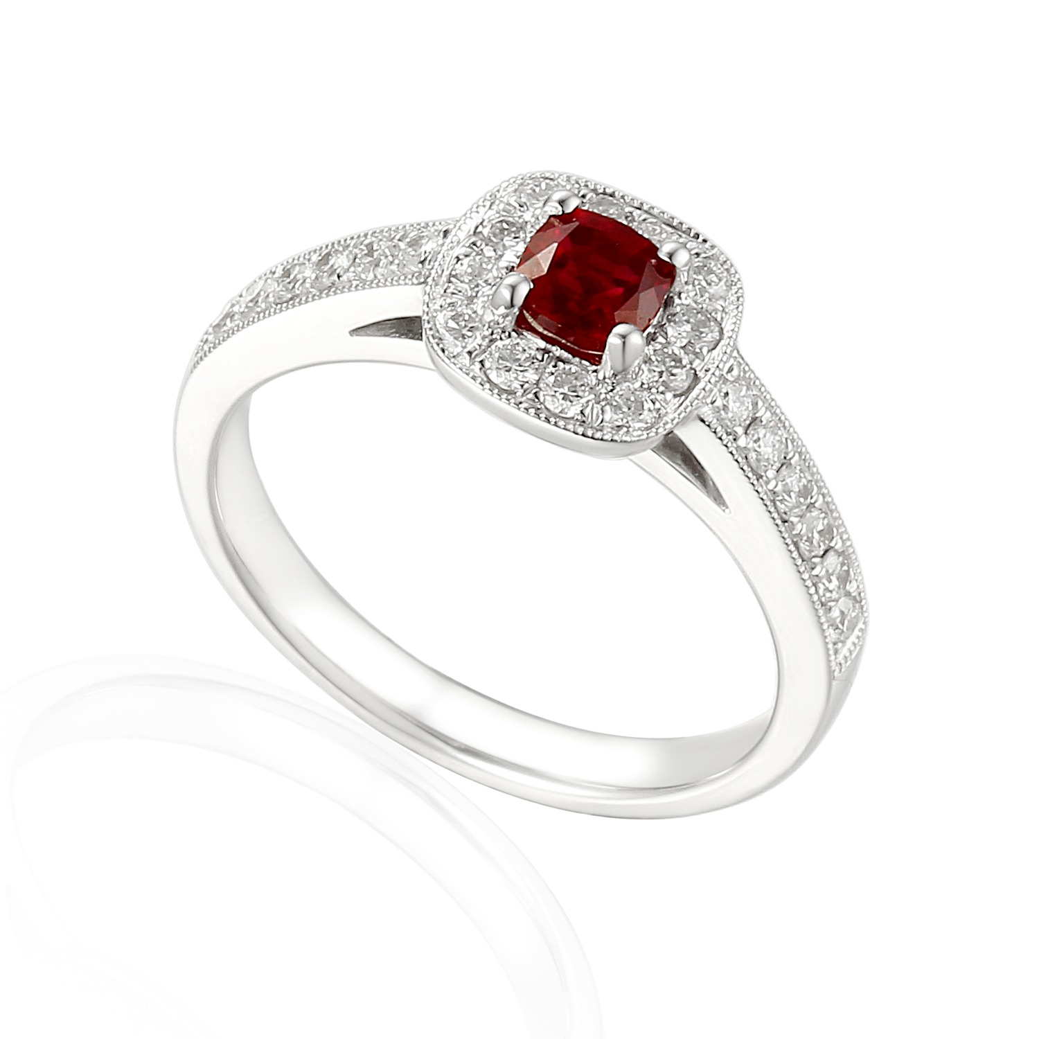 ruby and diamond platinum cushion cut halo ring