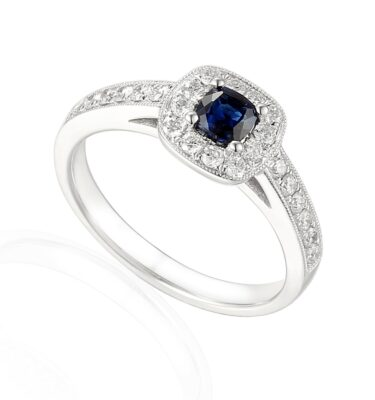 Designer 18ct white gold cushion cut sapphire and diamond halo engagement ring