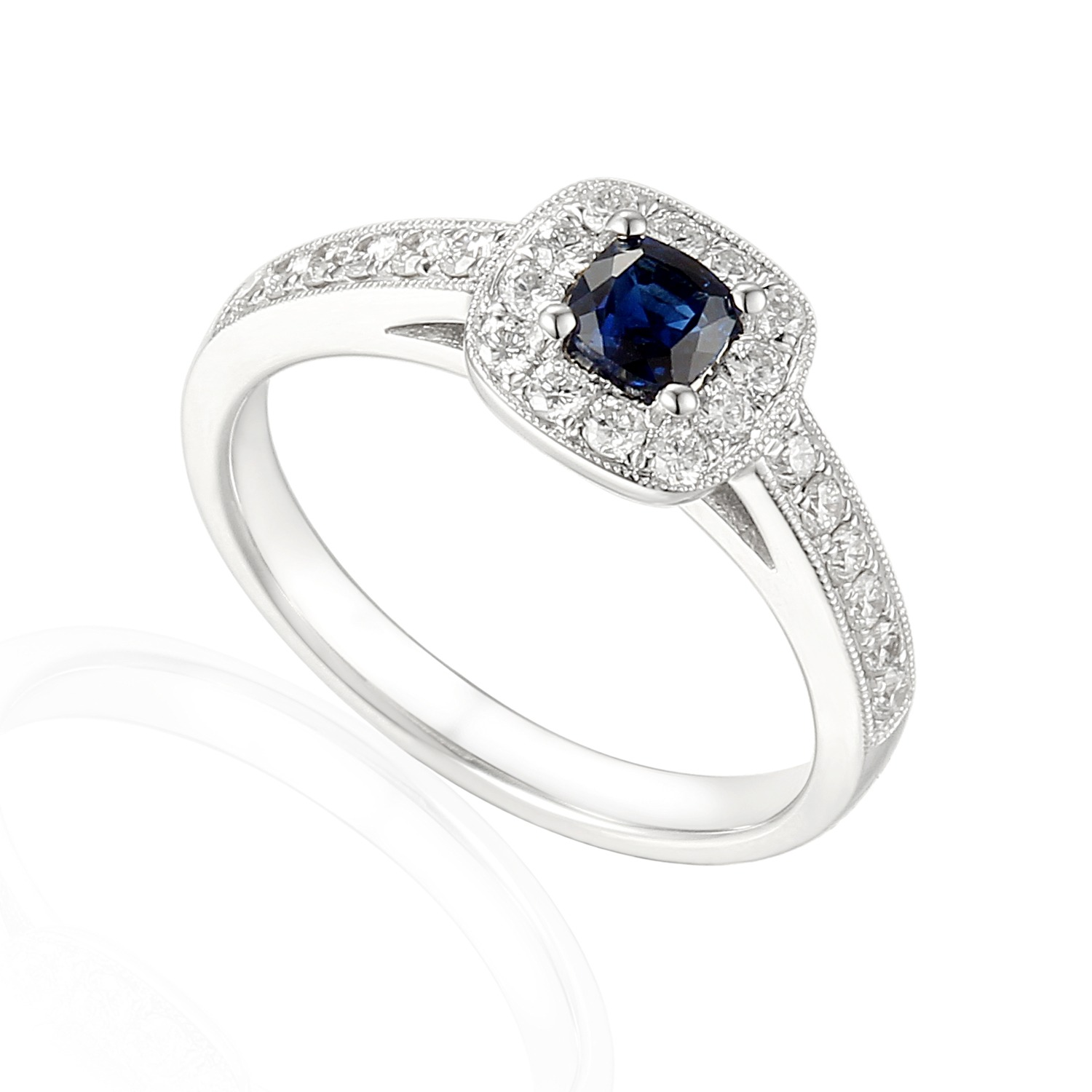 Sapphire and diamond 18ct white gold cushion cut halo