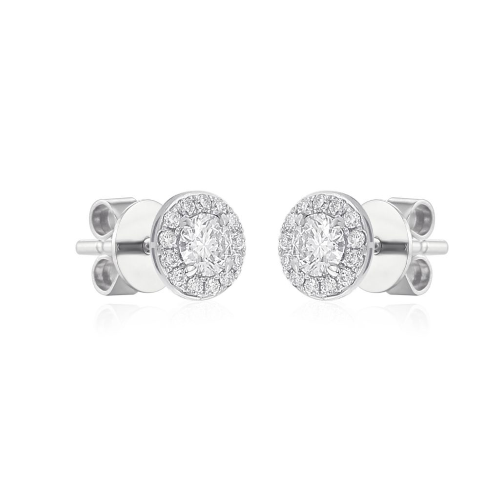"Rionore Brilliant ""Esker"" 18ct White Gold Round Diamond Halo Earrings"