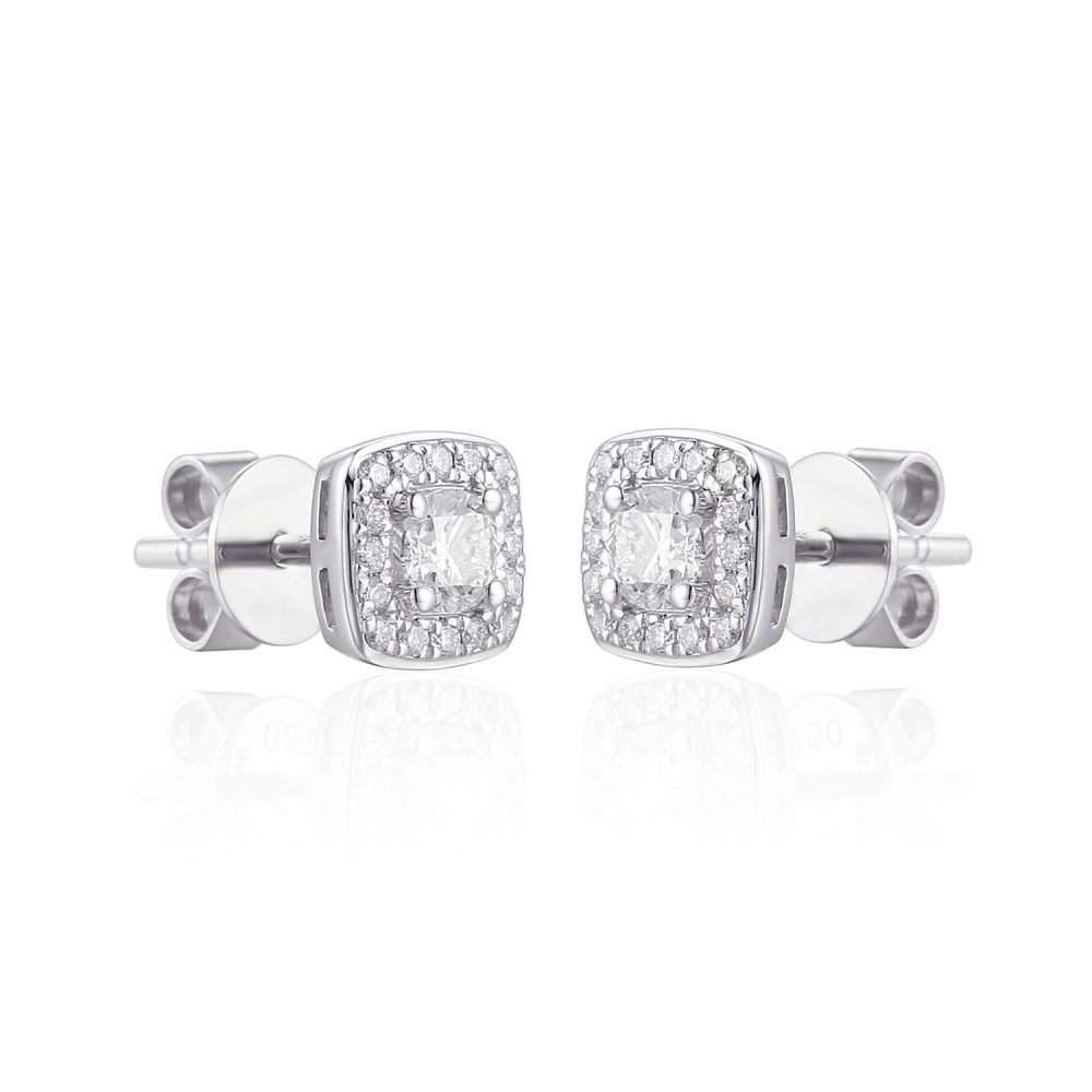 "Rionore Brilliant ""Cashel"" 18ct White Gold Pave Set Diamond Halo Earrings"