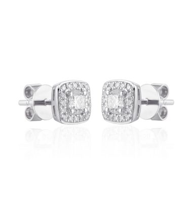 18ct white gold halo earrings