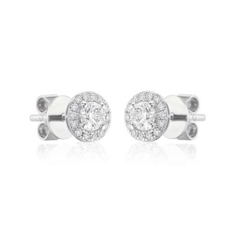 Designer 18ct white gold halo earstuds