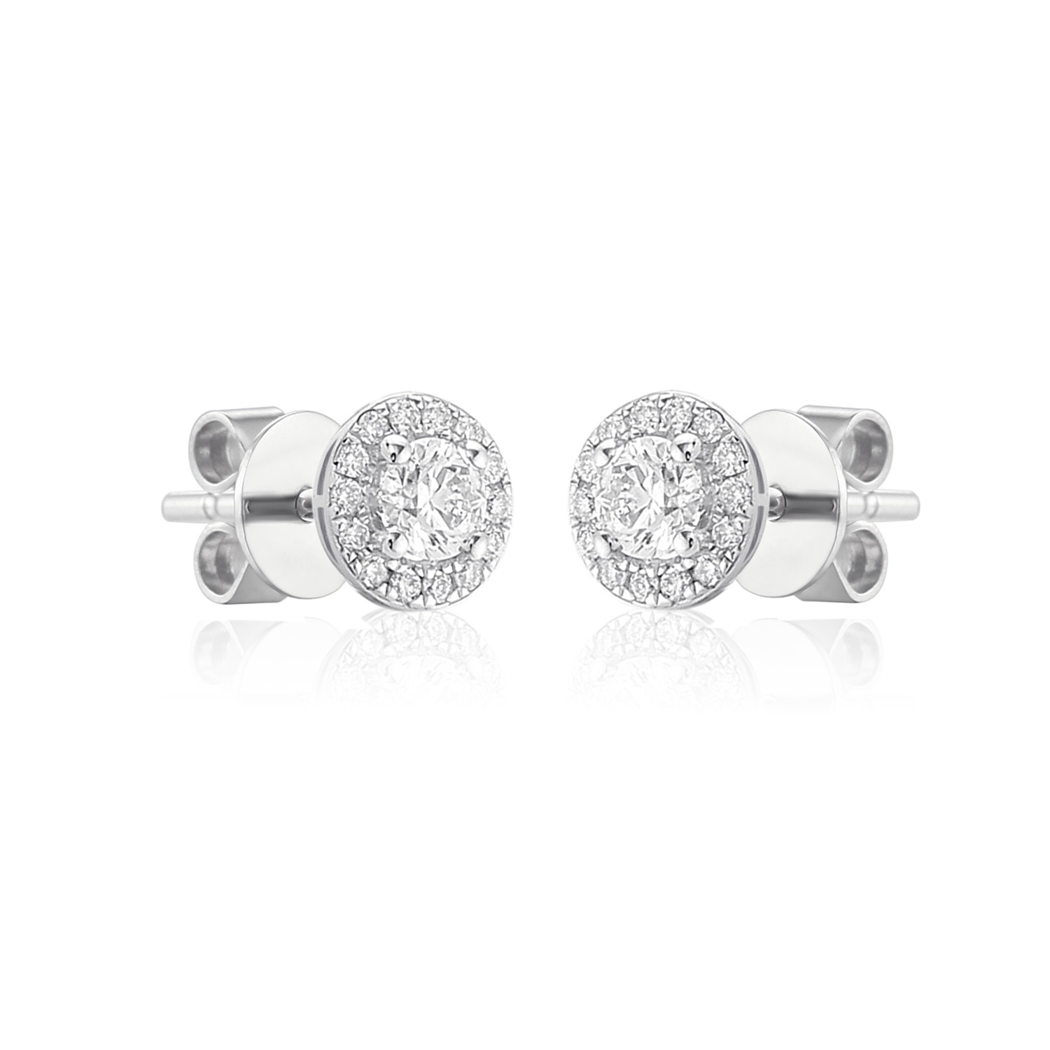 18ct white gold halo earstuds