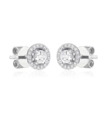 "Rionore Brilliant ""Remeen"" 18ct White Gold Brilliant Diamond Halo Stud Earrings"