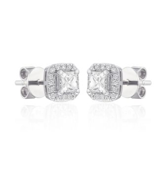 "Rionore Princess ""Derdimus"" classic 18ct white gold pave set diamond Earrings"