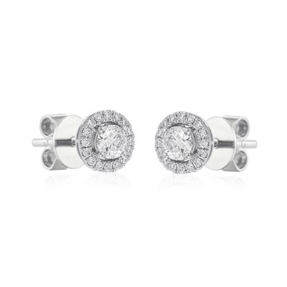 Rionore glittering halo earrings feature round diamonds set in 18ct white gold