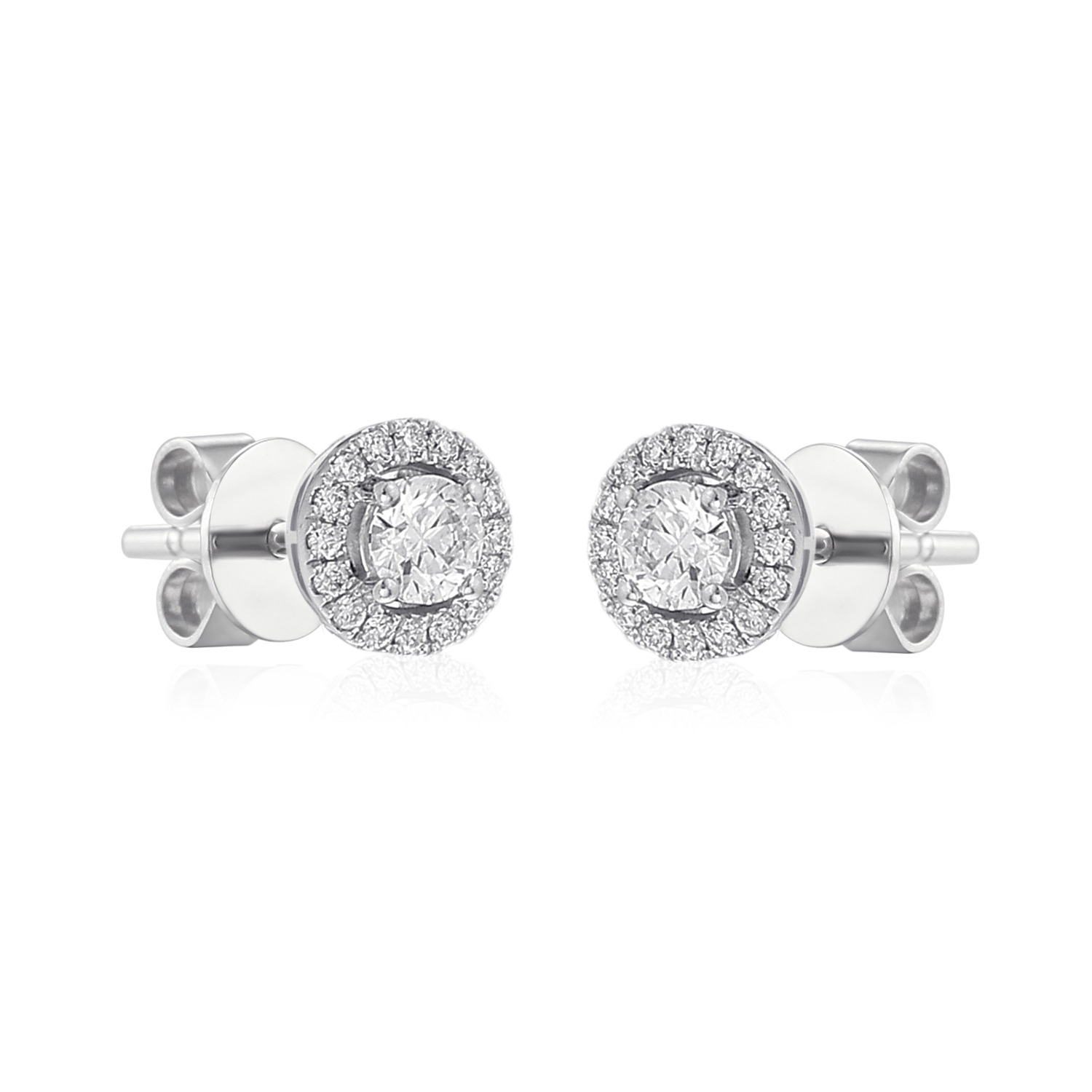 glittering halo earrings feature round diamonds