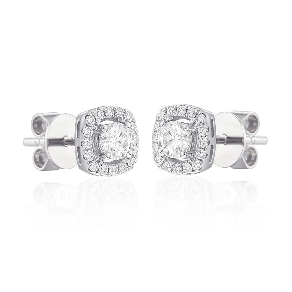 Gorgeous diamond halo earrings set in 18ct white gold