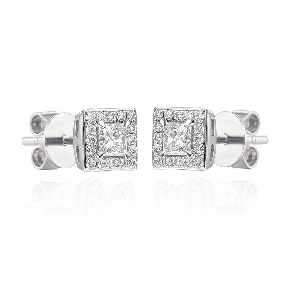 princess cut 18ct gold diamond earrings