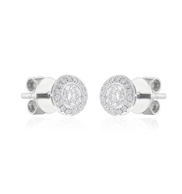Rionore exquisite pave-set round diamond halo earrings in 18ct white gold