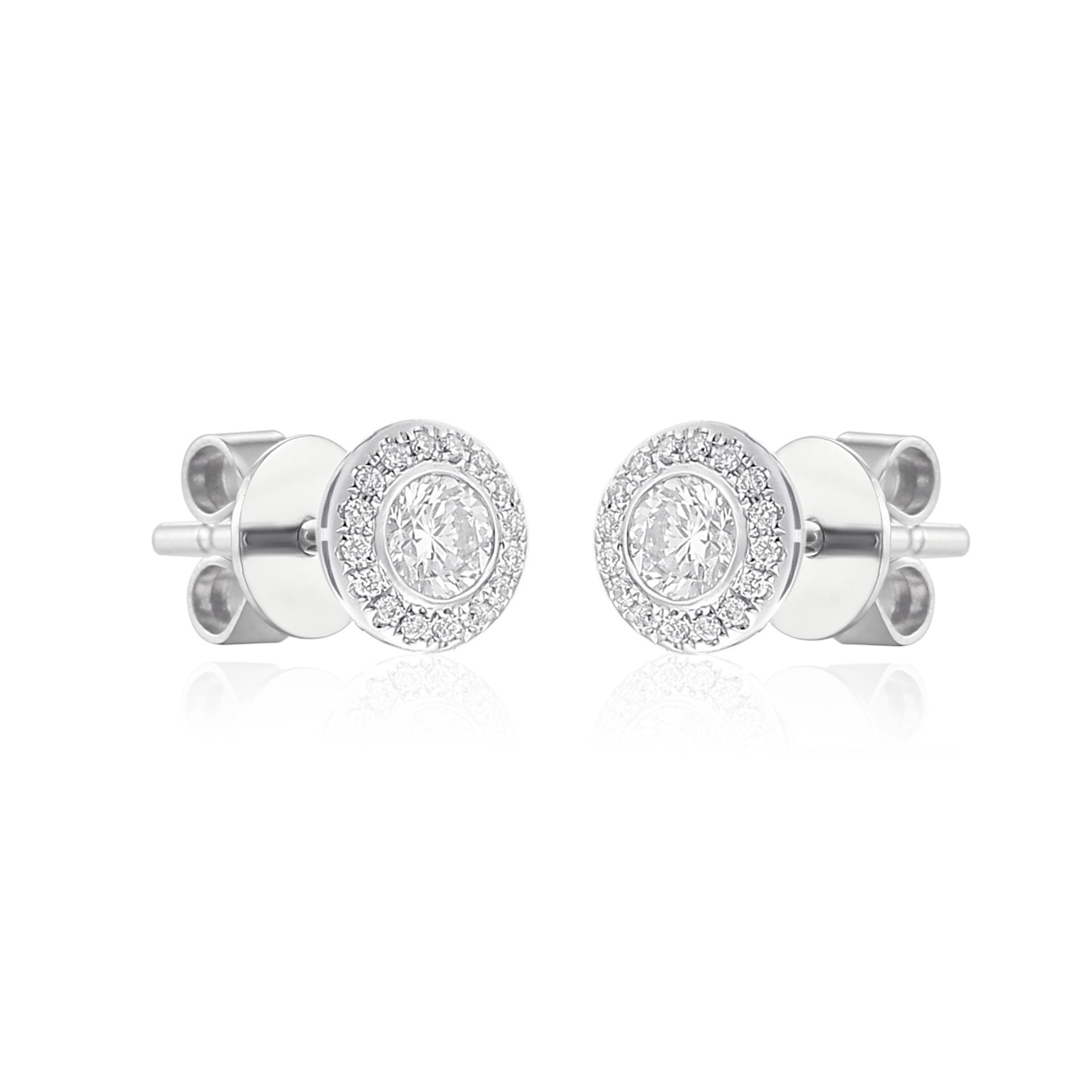 exquisite 18ct white gold halo earrings