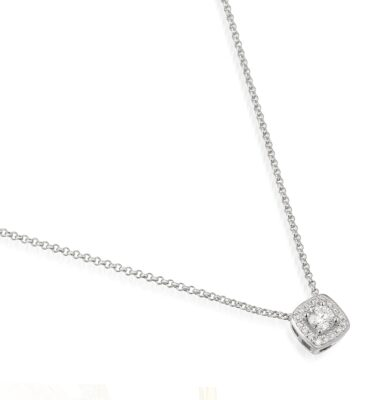 Designer cushion cut diamond 18ct white gold halo pendant