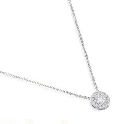 Elegant platinum diamond halo pendant necklace