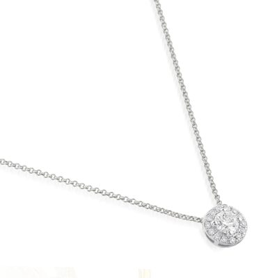 18ct white gold designer diamond halo pendant