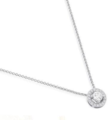 Designer brilliant-cut diamond halo pendant necklace