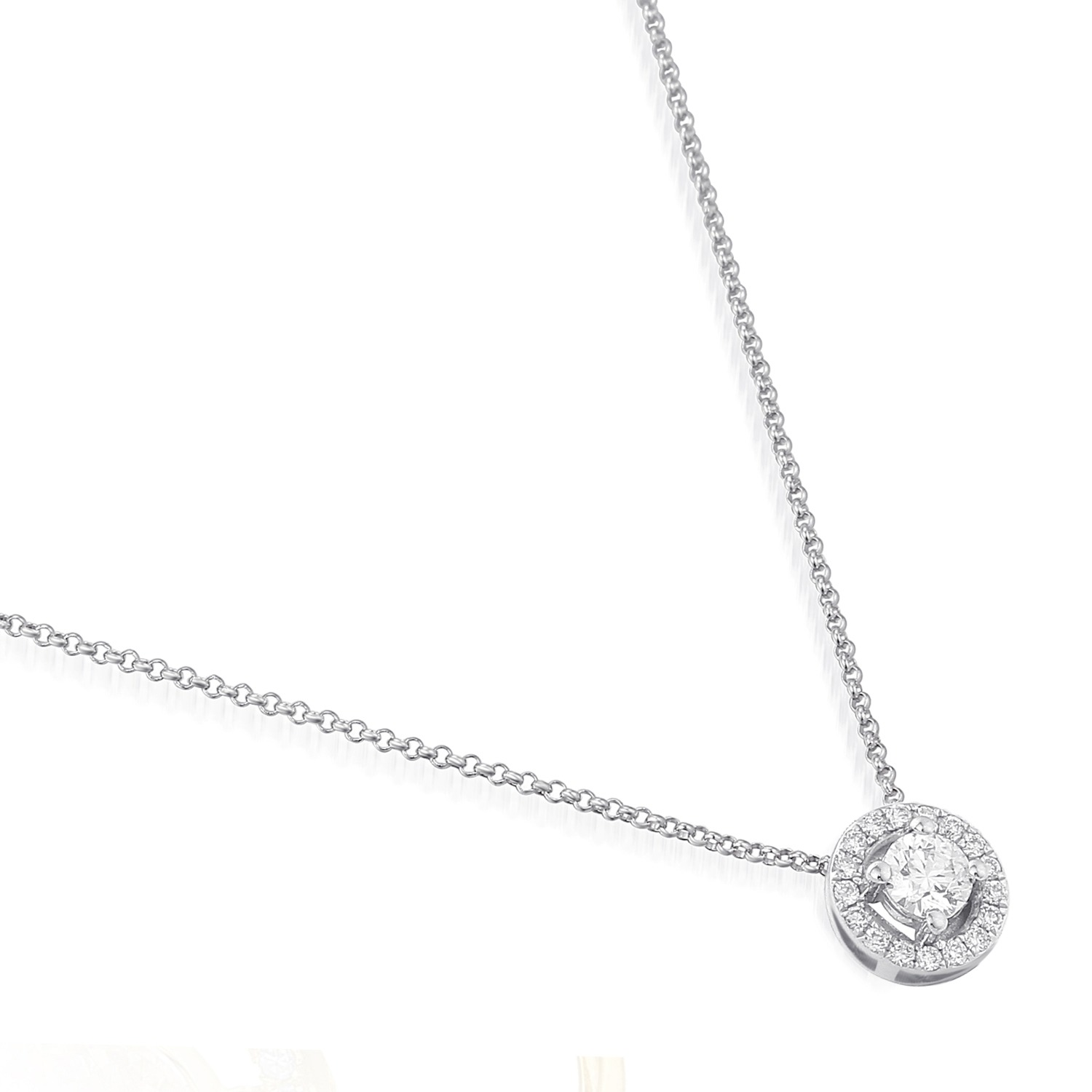 halo q necklaces twt ct in gold rose r necklace da brilliant diamond round cushion pendant