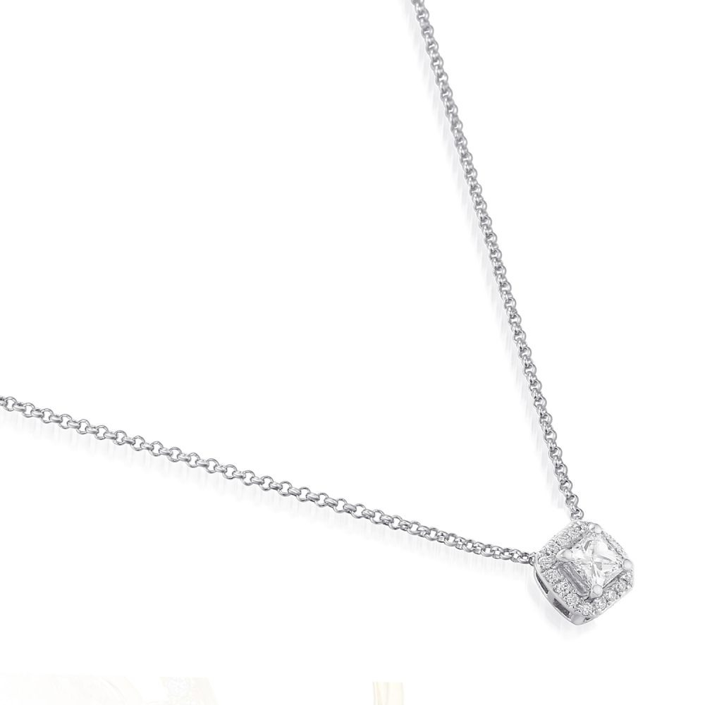 Rionore unique diamond halo necklace in18ct white gold