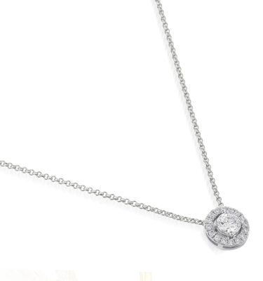 "Rionore Brilliant ""Knapton"" 18ct White Gold Diamond halo pendant"