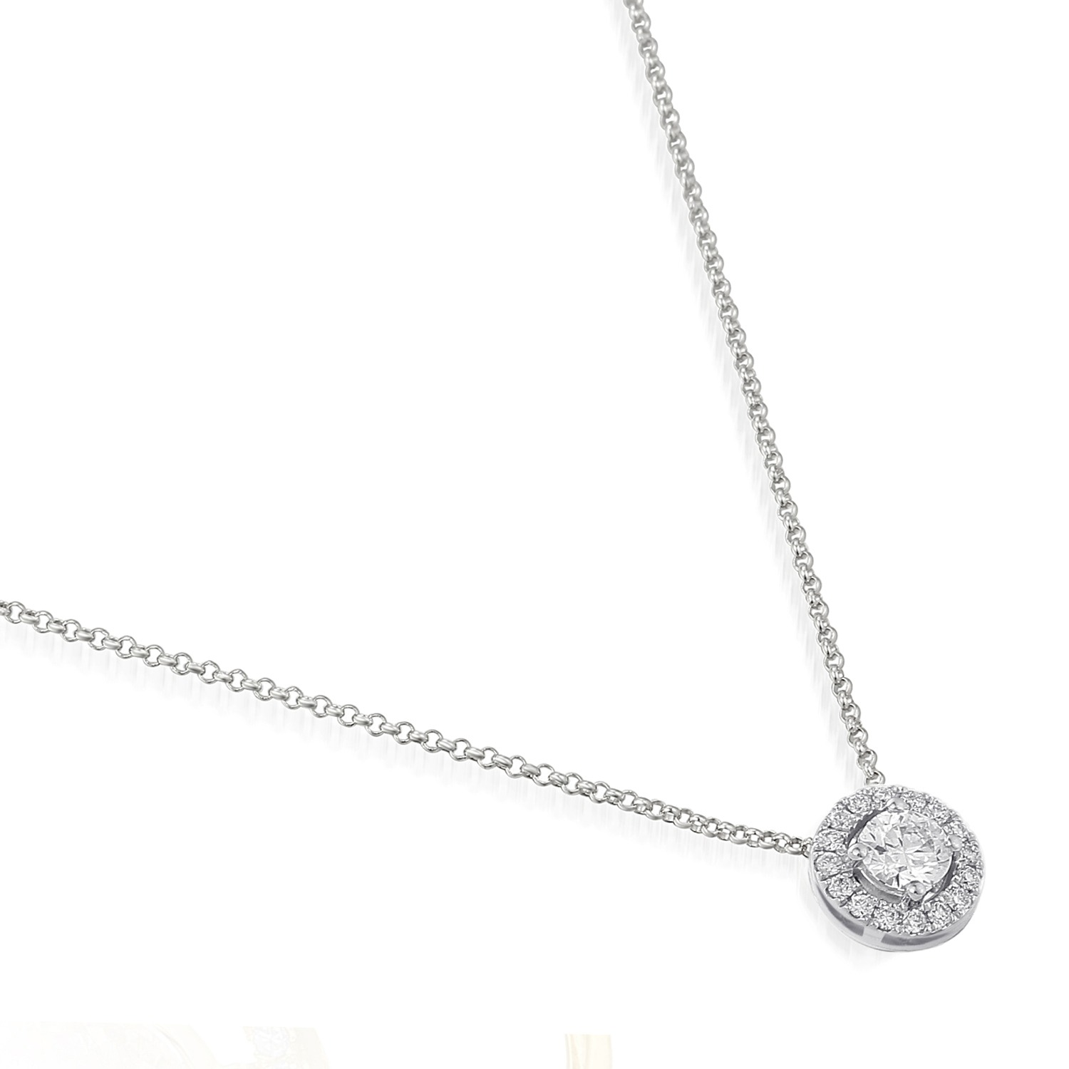 18ct white gold diamond halo pendant