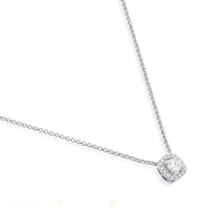 Rionore simple elegant diamond halo necklace set in 18ct white gold