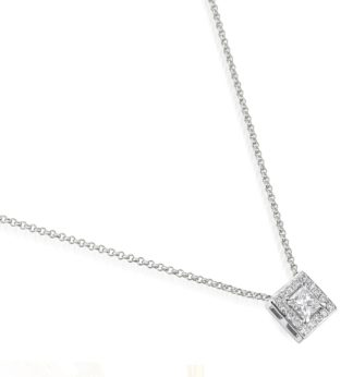 "Rionore Princess ""Baunree"" Princess-cut Diamond surrounded by halo of round-cut diamonds Set In 18ct White Gold Pendant"