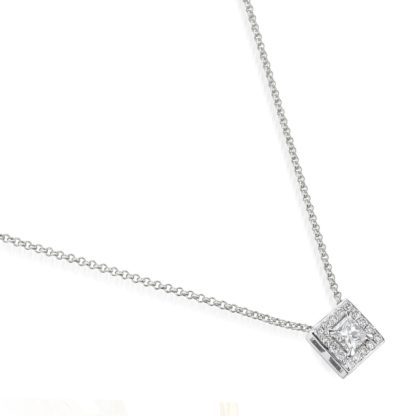 """Rionore Princess """"Baunree"""" Princess-cut Diamond surrounded by halo of round-cut diamonds Set In 18ct White Gold Pendant"""