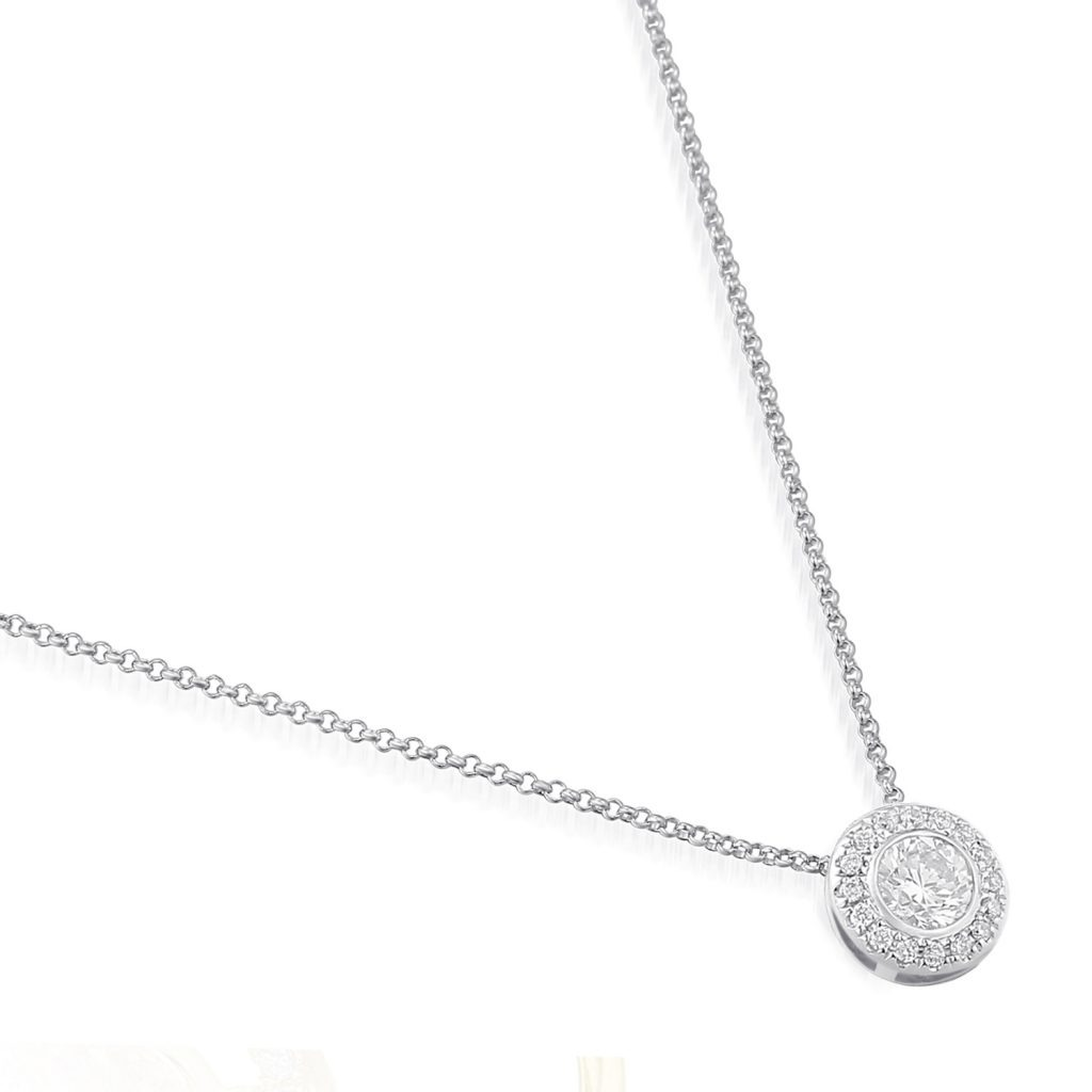 Rionore exquisite pave-set round diamond halo pendant in 18ct white gold