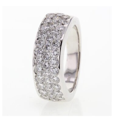Rionore Designer 18ct white gold 3 row diamond band