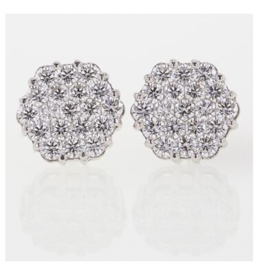 Designer Invisible set unique diamond earrings in 18ct white gold