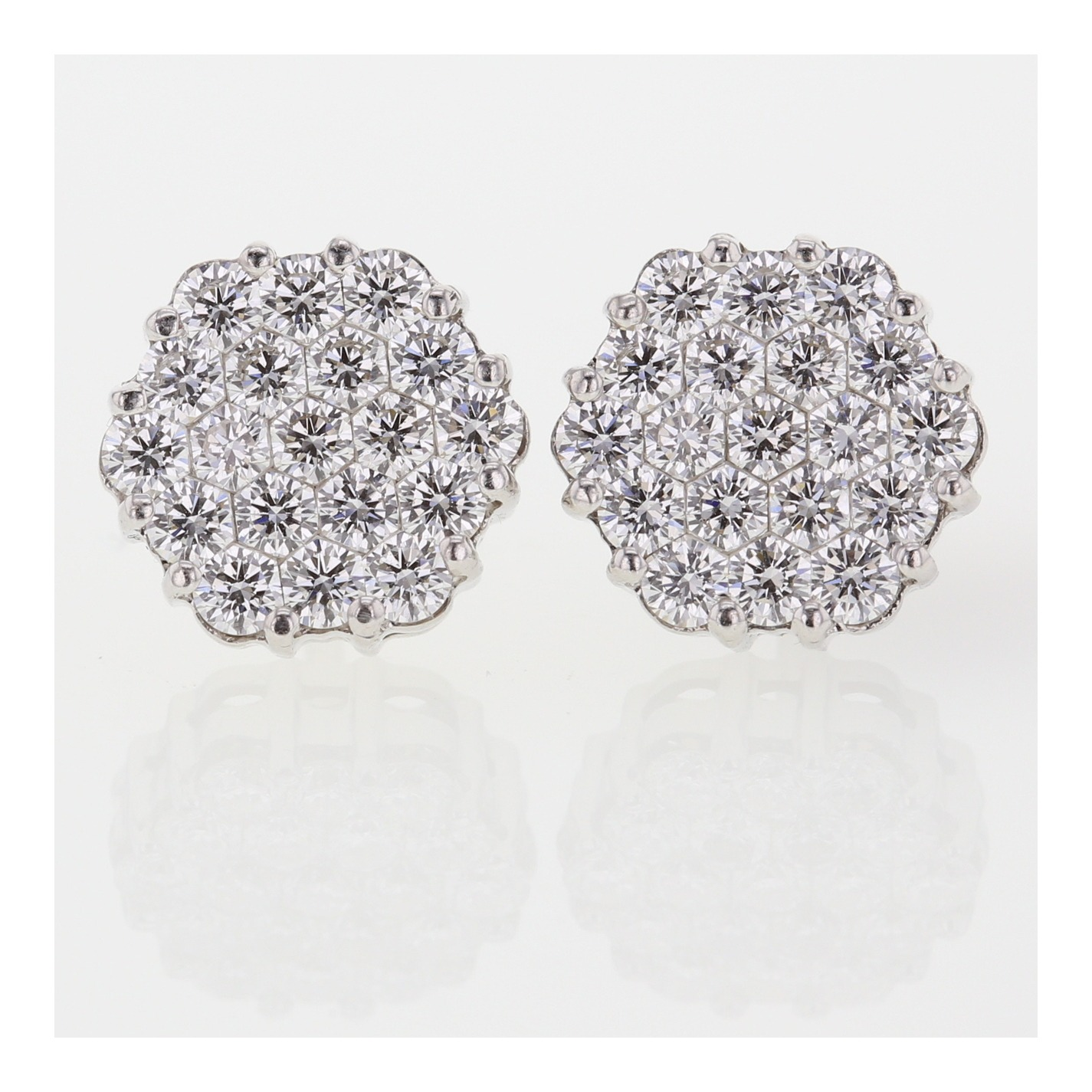 view earrings white gold three stud in prong diamond martini dimond top round